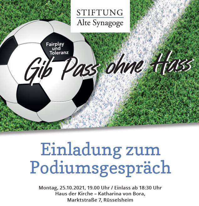 Podiumsgespräch über Fairness und Toleranz im Sport - Gib Pass ohne Hass